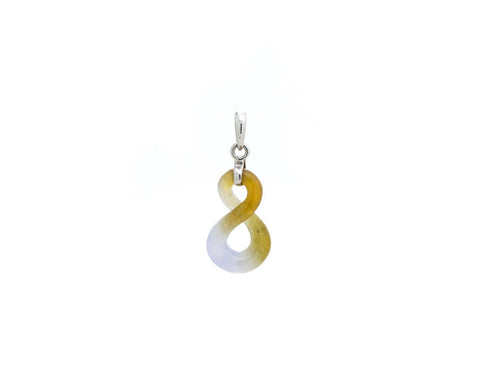 Infinity Pendant Necklace | Carved natural jade in amber and lavender colors