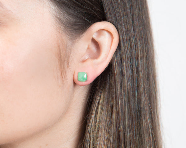 Green Jade Stud Earrings in Yellow Gold | Modern Jade Designs by TRACE