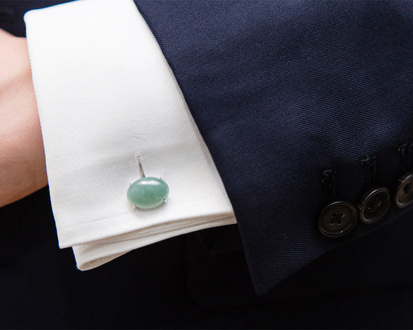 Men's Jade Cufflinks in White Gold | TRACE Jade Jewelry