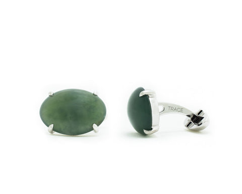 Oval Jade Cufflinks in White Gold | Modern Jade Designs by TRACE