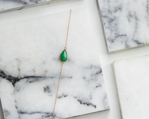 Pear Shaped Jade Bracelet | Rose Gold Chain Bracelets