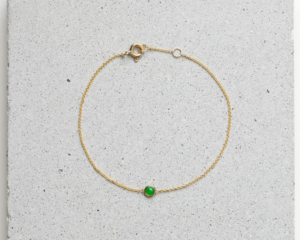 Yellow Gold Translucent Green Jade Bracelet | Grade A Jadeite Bracelets | Jade jewelry by TRACE