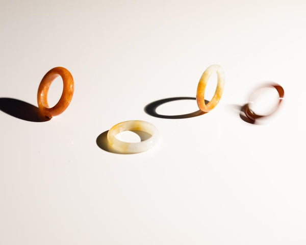 Artistic jewelry photography | Natural jade rings at TRACE