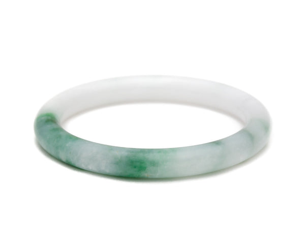 Genuine jade bangle for women | White jade with dark green watercolor bangle | TRACE jade