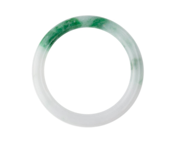 Authentic Grade A jade bangle at TRACE jade | Modern jade jewelry for women | White and dark green bangle