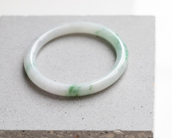 Burmese jade bangles for sale | Green and white solid jade | Jade jewelry by TRACE