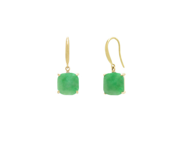 Green Jade Dangle Earrings in Yellow Gold | Modern Jade Designs by TRACE