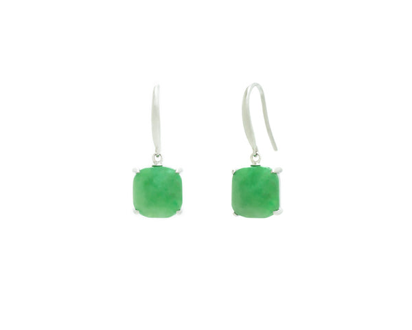 Green Jade Dangle Earrings in White Gold | Modern Jade Designs by TRACE
