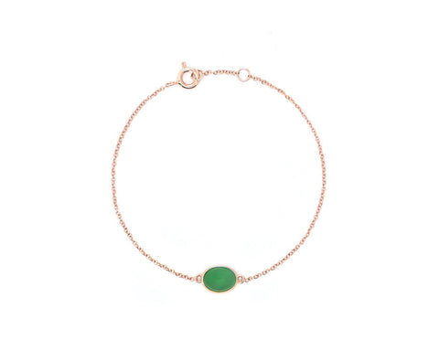 Green Jade Cabochon Bracelet in Rose Gold | Modern Jade Designs by TRACE