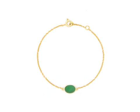Green Jade Cabochon Bracelet in Yellow Gold | Modern Jade Designs by TRACE
