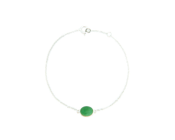 Green Jade Cabochon Bracelet in White Gold | Modern Jade Designs by TRACE