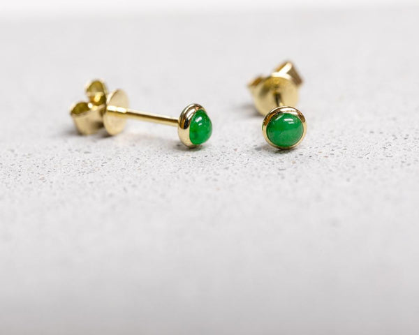 Yellow Gold Translucent Green Jade Studs | Grade A Jadeite Earrings | Jade jewelry by TRACE