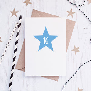 Sixteeth Birthday Star Milestone Card