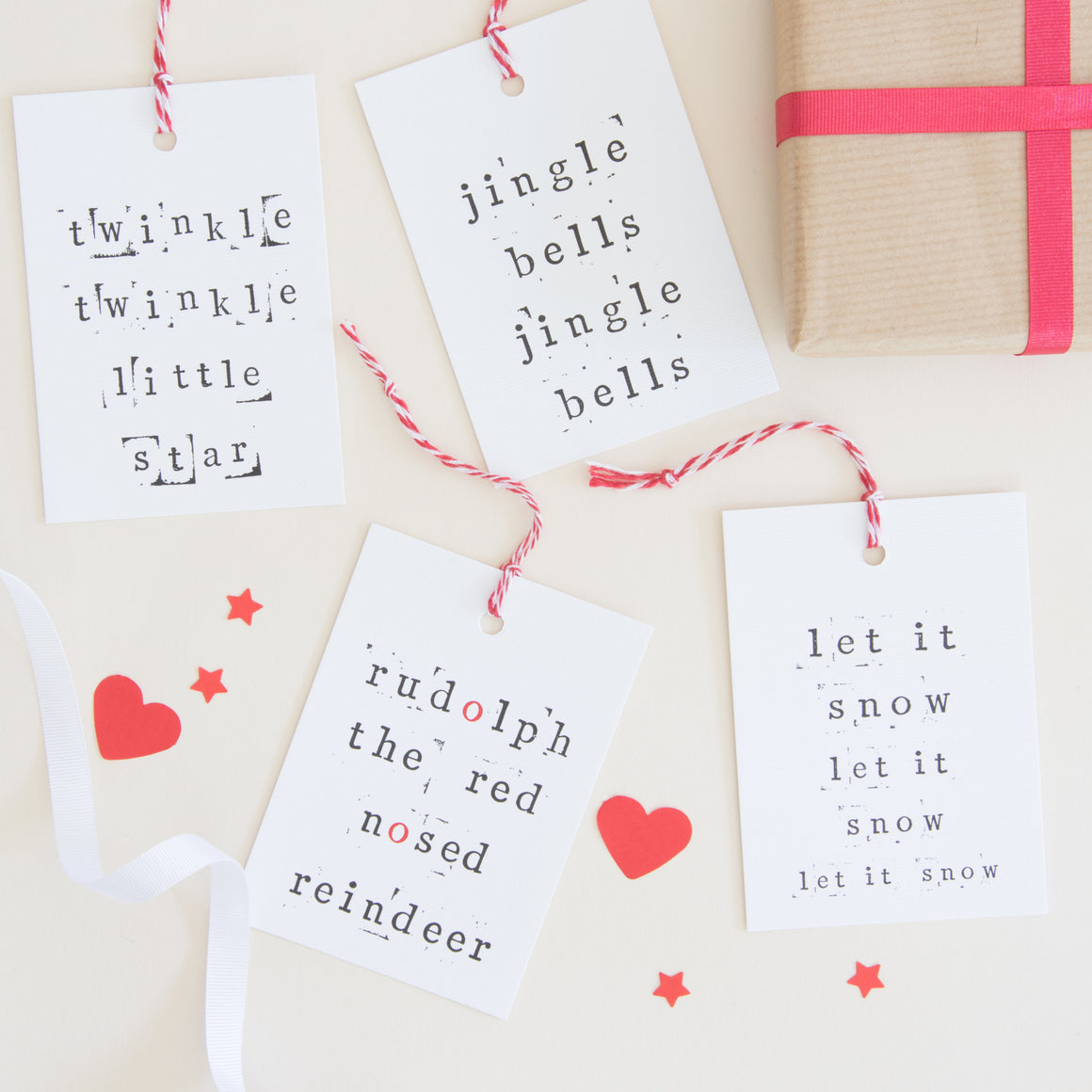Festive Songs Christmas Gift Tags Gift Tag - The Two Wagtails