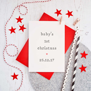 Personalised 'Baby's 1st Christmas' Card Card - The Two Wagtails