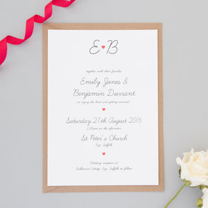 Red Heart Monogram Wedding Invitation Set Invitations - The Two Wagtails