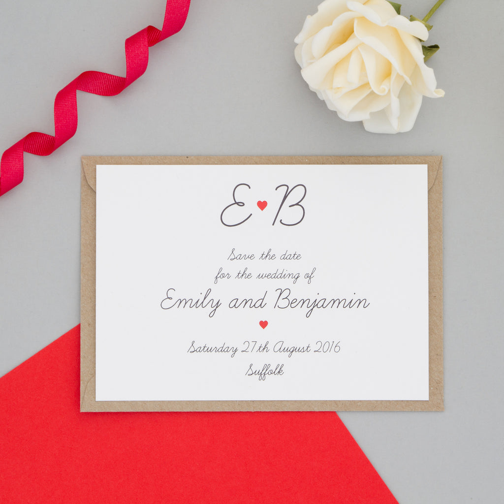 Red Heart Monogram Wedding Invitation Set - The Two Wagtails