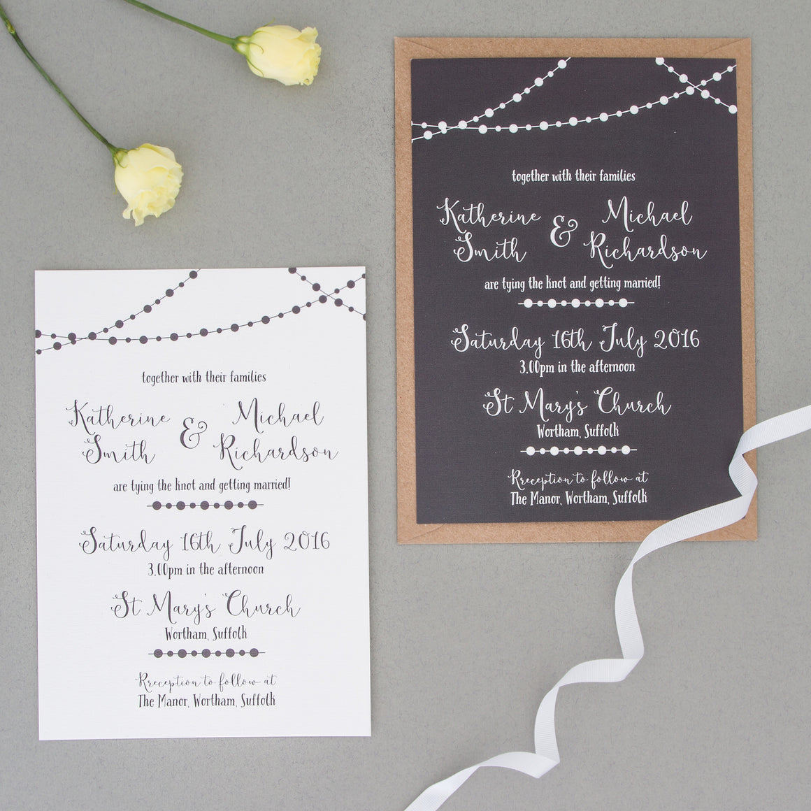 Fairy Light Wedding Invitation Set - The Two Wagtails