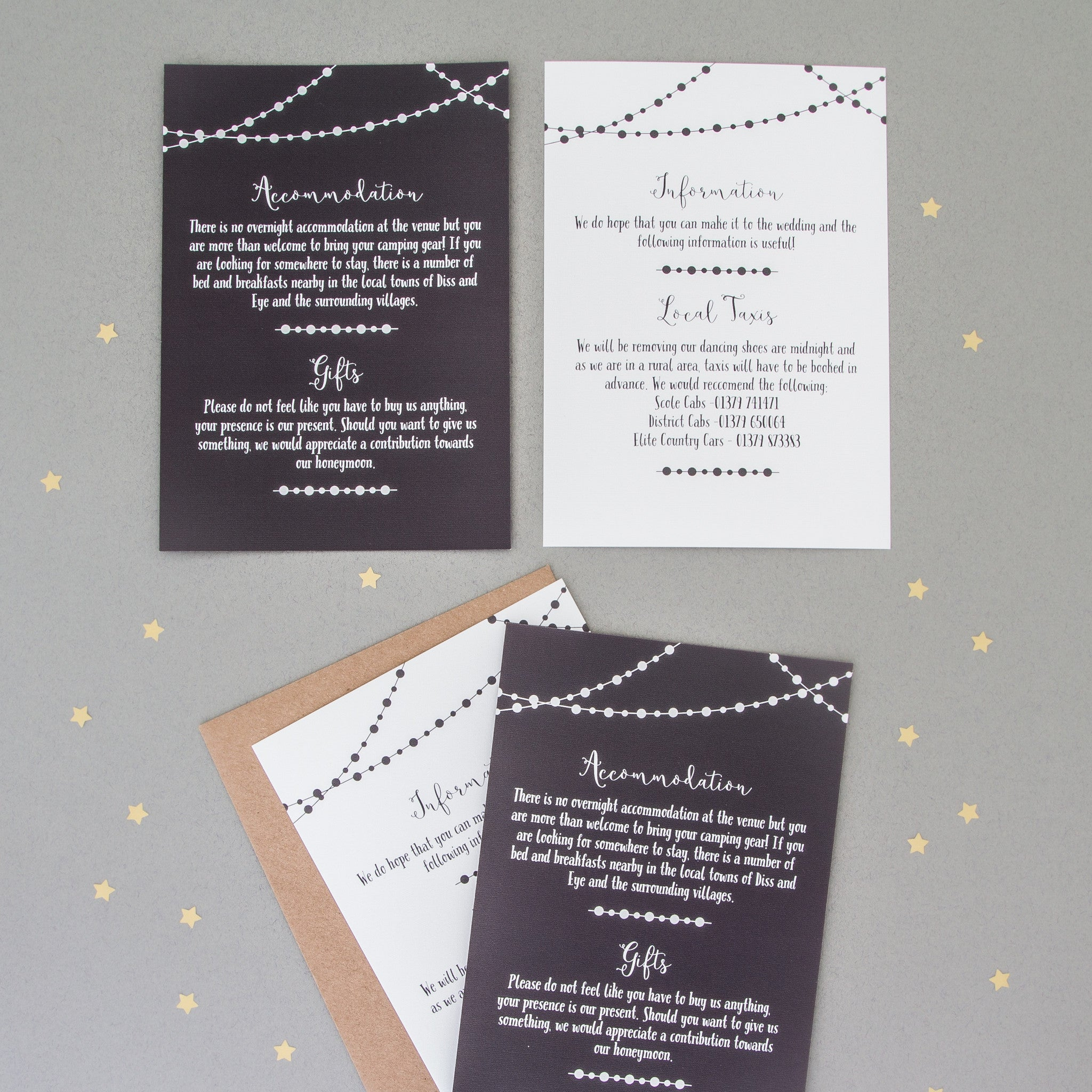 Fairy Light Wedding Invitation Set   The Two Wagtails