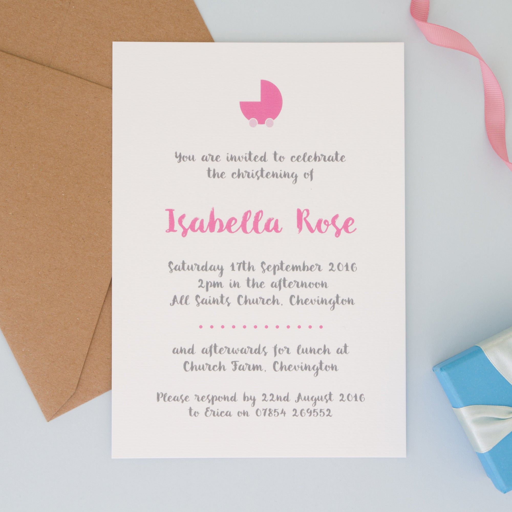 Personalised Christening Or Naming Ceremony Invitations Invitations - The Two Wagtails