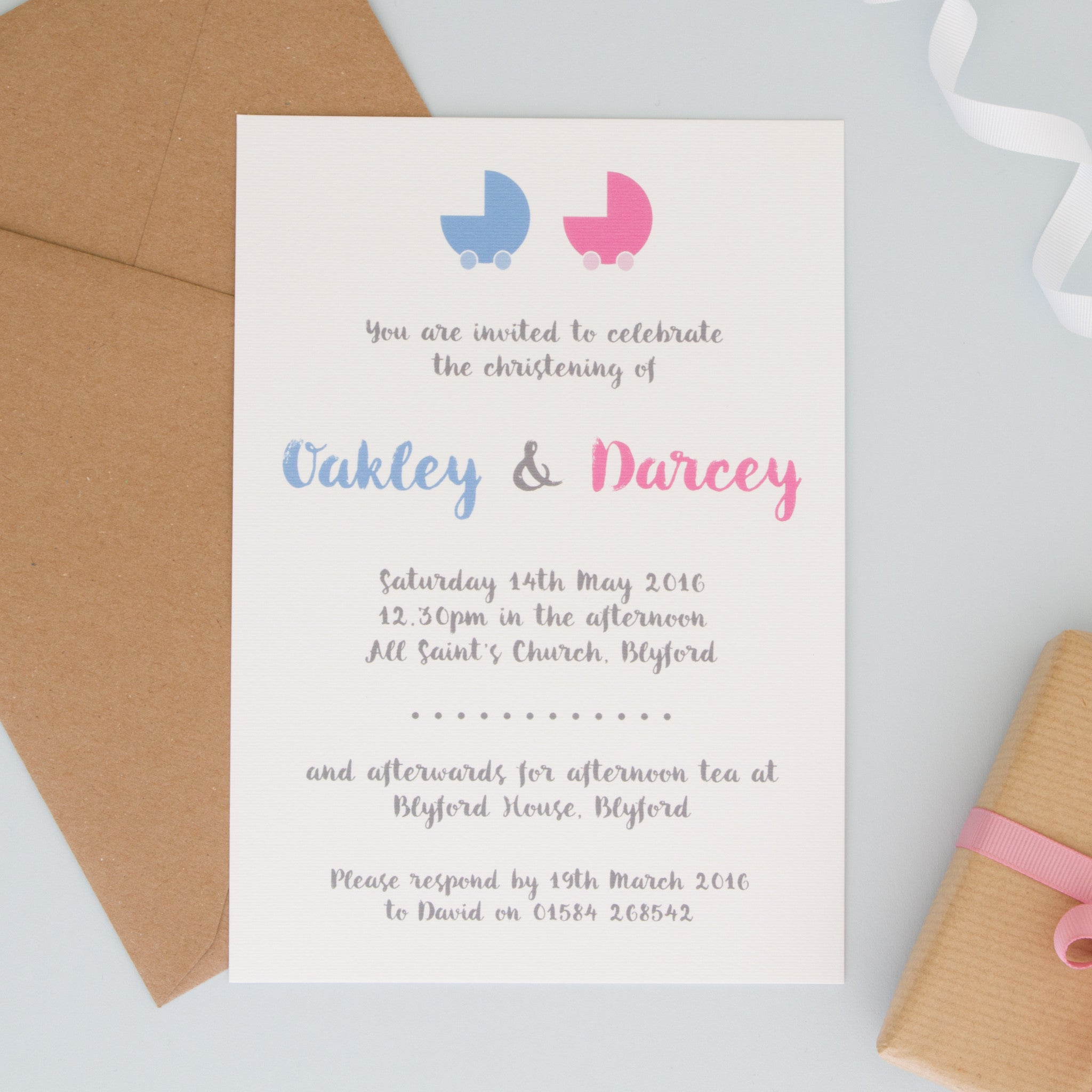 Personalised christening invitations invitations the two personalised christening or naming ceremony invitations the two wagtails stopboris Choice Image
