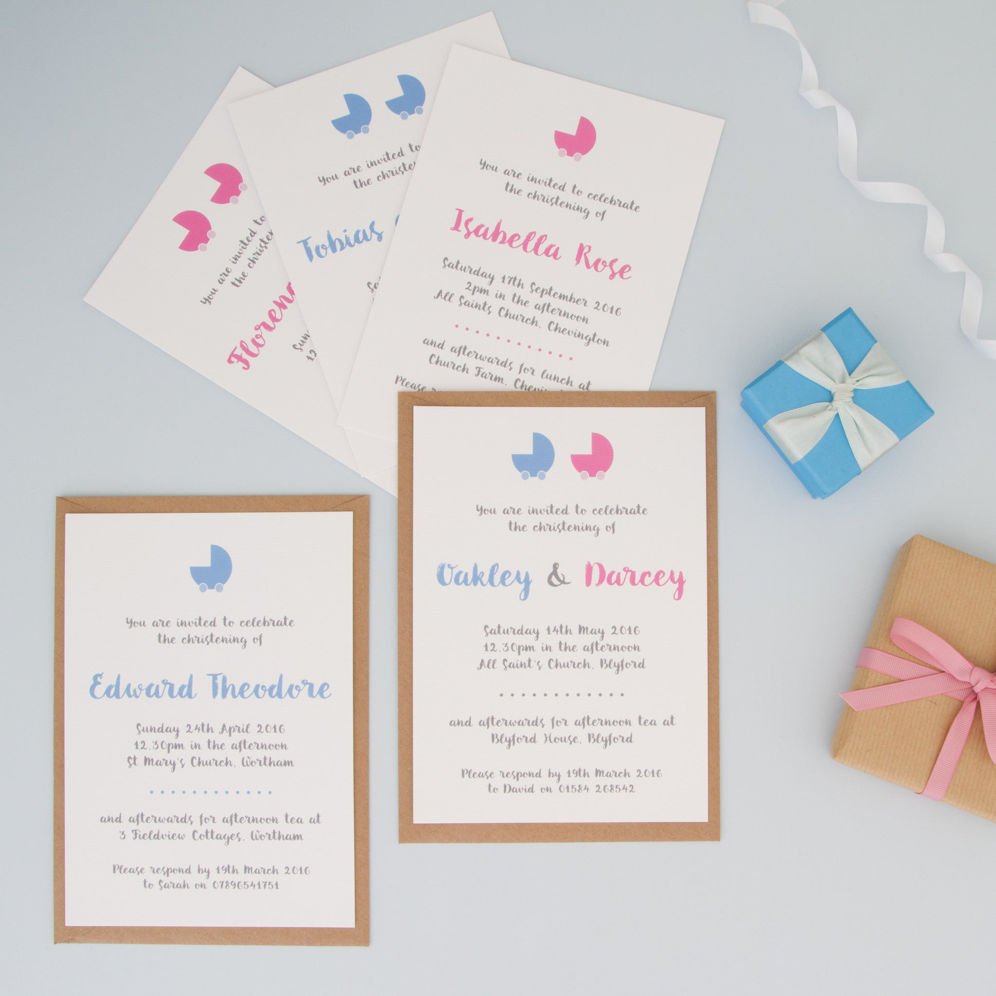 ... Personalised Christening Or Naming Ceremony Invitations   The Two  Wagtails