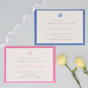 Personalised Birth Announcements Invitations - The Two Wagtails