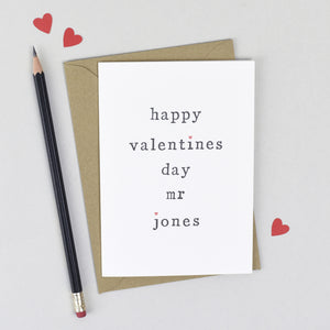 Personalised Happy Valentine's Day Mr or Mrs Card Card - The Two Wagtails