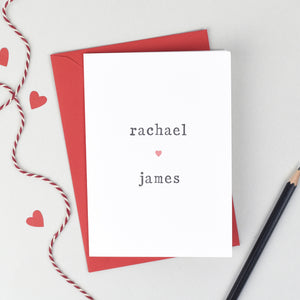 Personalised Couple Heart Card - The Two Wagtails