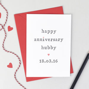 Personalised Happy Anniversary Hubby Or Wifey Card - The Two Wagtails