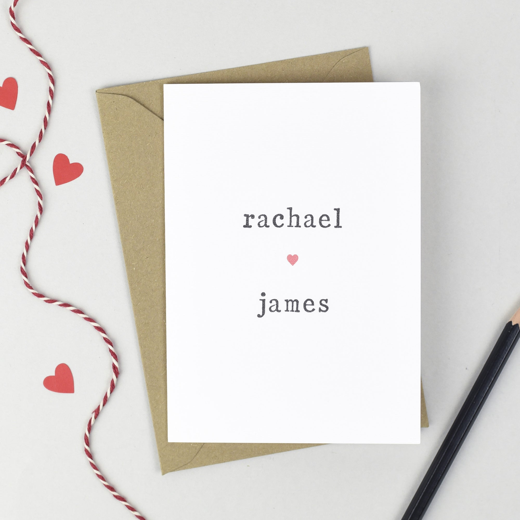 Personalised Couple Heart Card Card - The Two Wagtails