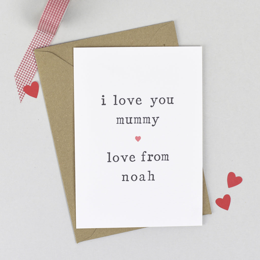 Personalised 'Love You' Mother's Day or Birthday Card - The Two Wagtails