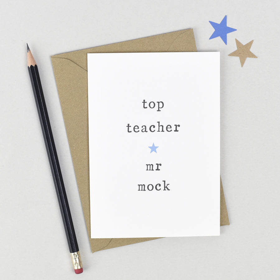 Personalised Top Teacher Card Card - The Two Wagtails