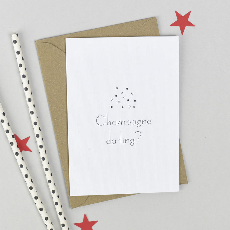Champagne Darling? Congratulations Card - The Two Wagtails