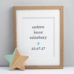 Personalised Unframed New Baby Print Print - The Two Wagtails