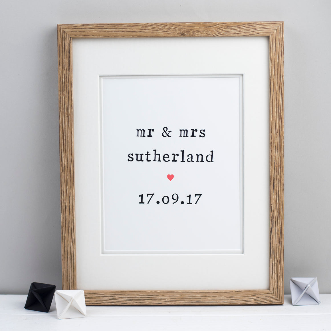 Personalised Mr and Mrs Wedding Unframed Print Print - The Two Wagtails