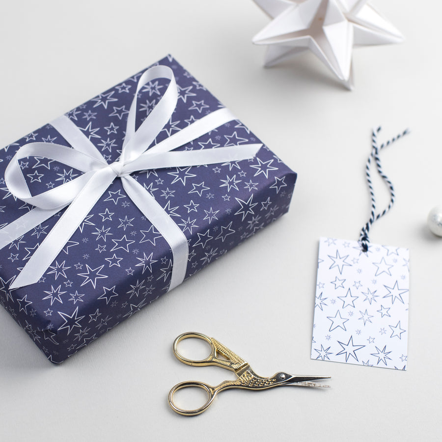 Hand-drawn Star Christmas Gift Wrap Set Gift Wrap - The Two Wagtails