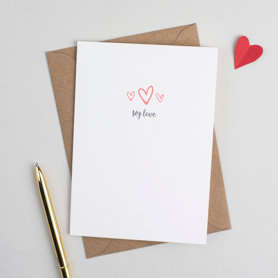 'My Love' Anniversary or Valentines Card Card - The Two Wagtails