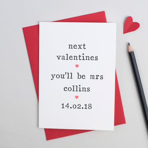 'Next Valentines' Valentine's Day Card Card - The Two Wagtails