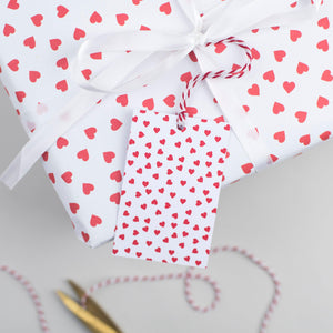 Red Heart Valentine's Wrapping Paper Set Gift Wrap - The Two Wagtails