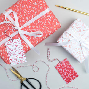 Handdrawn Heart Valentine's Wrapping Paper Set Gift Wrap - The Two Wagtails
