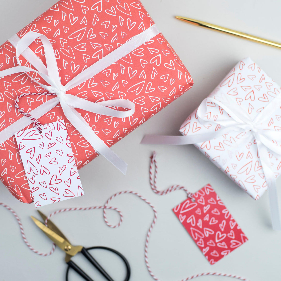 Handdrawn Heart Valentine's Wrapping Paper Set