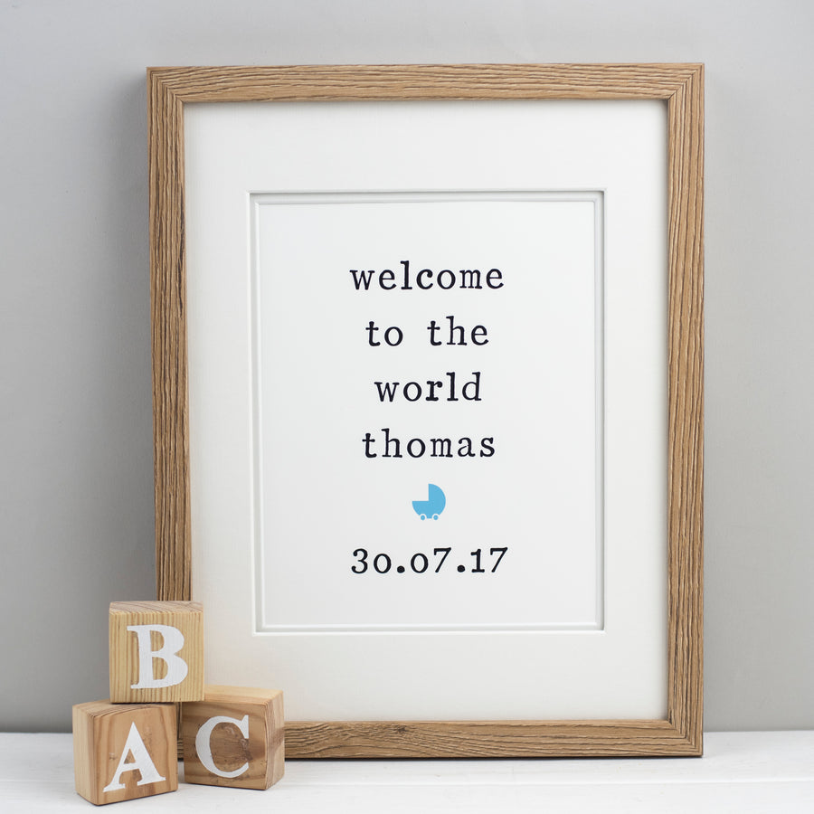 'Welcome to the world' Personalised Unframed New Baby Print Print - The Two Wagtails