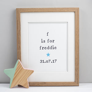 Personalised Alphabet Unframed New Baby Print Print - The Two Wagtails