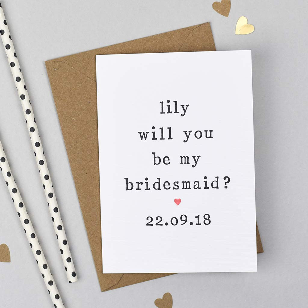 asking bridesmaid wedding card