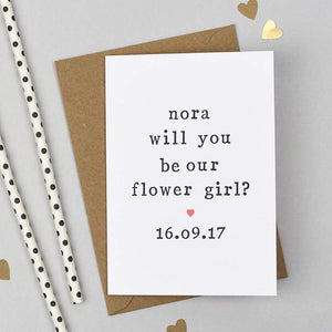 asking flower girl wedding card