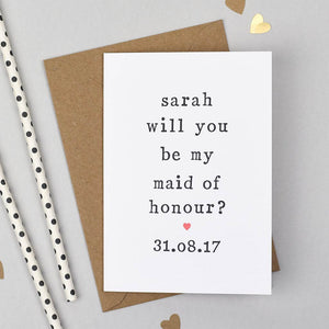 asking maid of honour wedding card