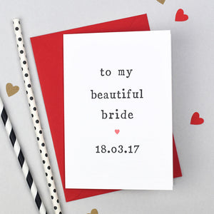 beautiful bride wedding day card