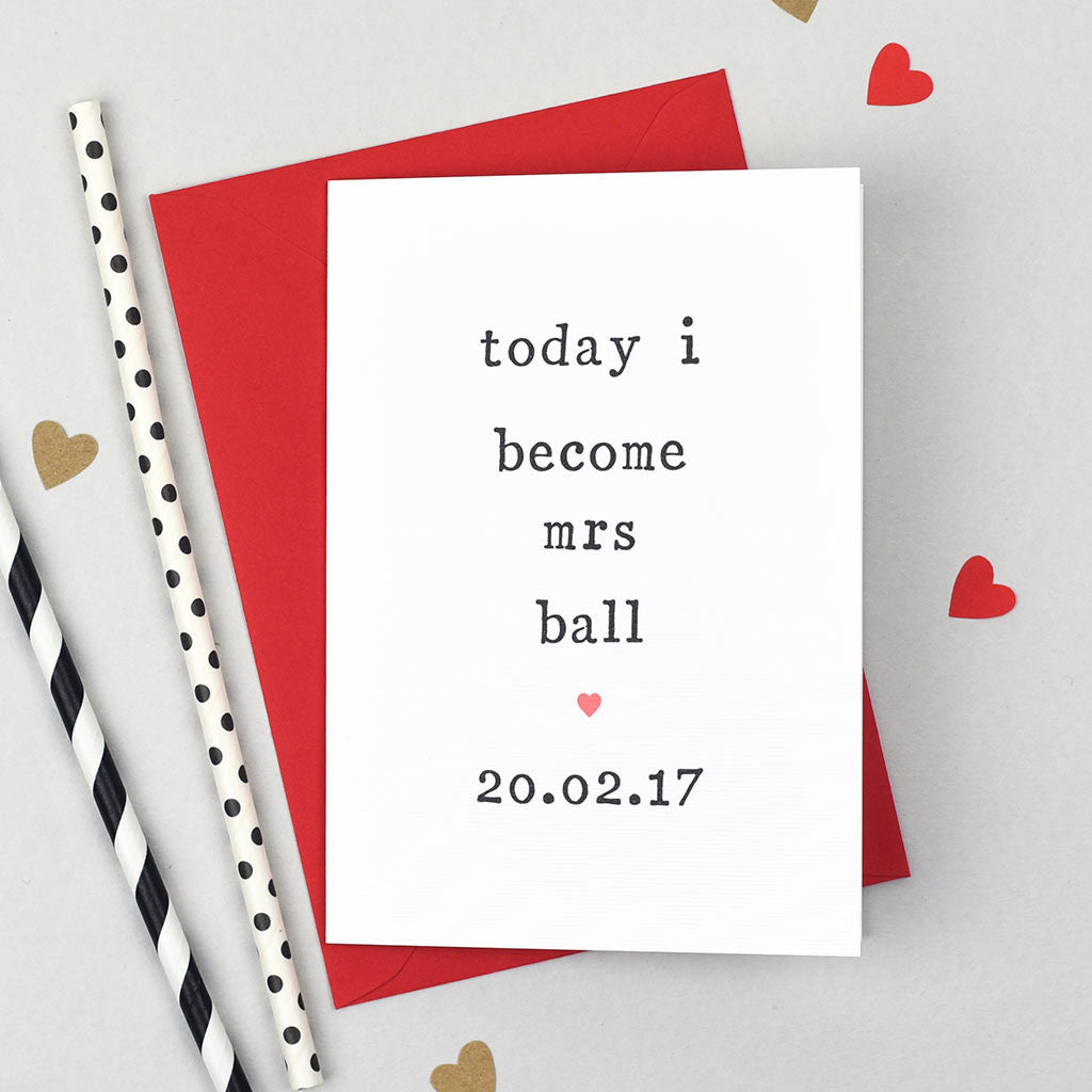 Today I Become Mrs\' Wedding Card | Greeting Cards | The Two Wagtails ...