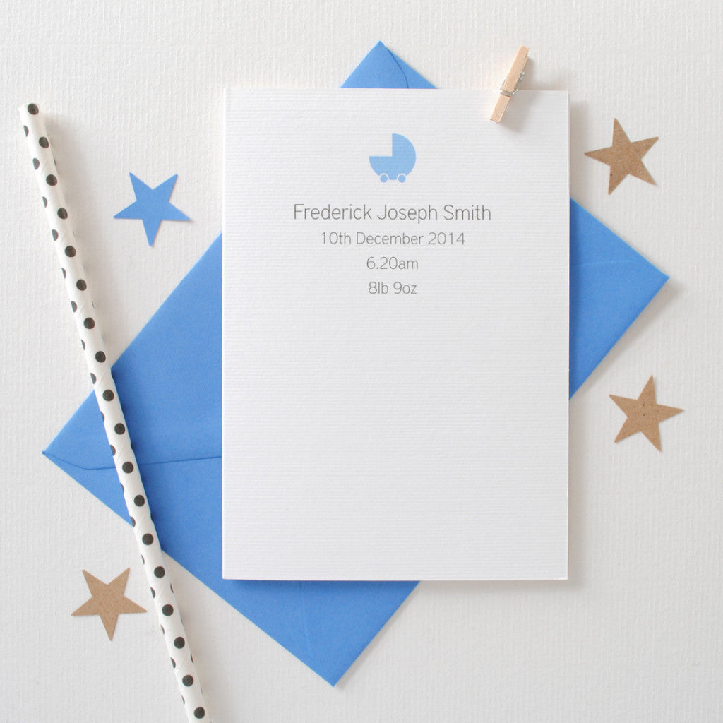 Personalised New Baby Card Card - The Two Wagtails